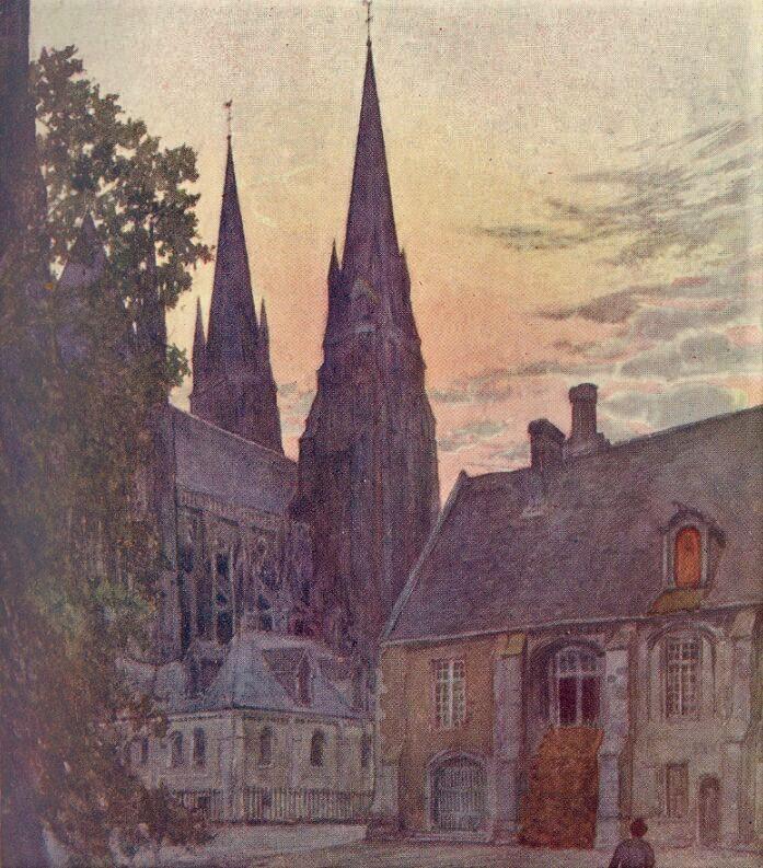 Watercolour of a Bayeux sunset