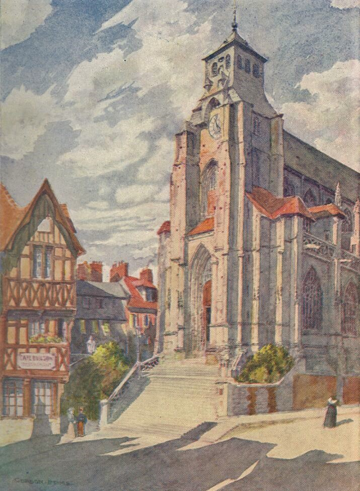Watercolour of St Jacques church in Lisieux by Gordon Home