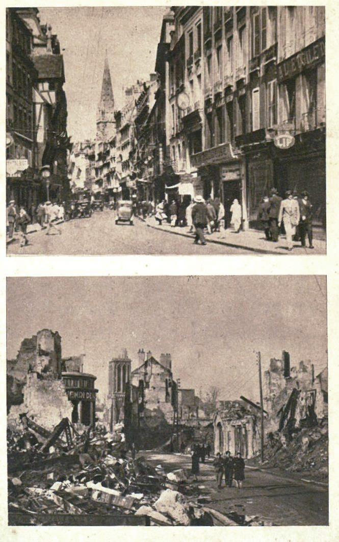 Caen before and after the battle of 1944 normandy then and now - Rue saint laurent caen ...