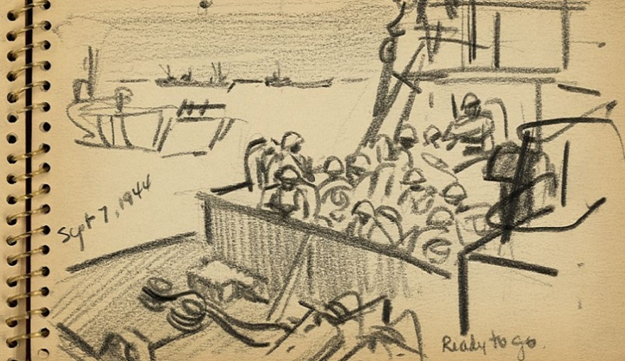 American soldier in Normandy; drawings from 1944