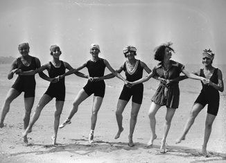 Dancers on the beach at Deauville in the 1920s