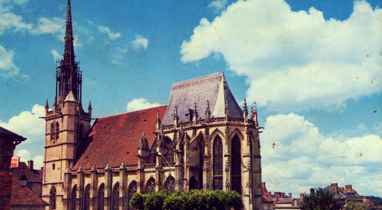 the church at Conches en Ouche postcard