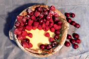 Camembert baked cheesecake, with a lot of lovely local fruit.