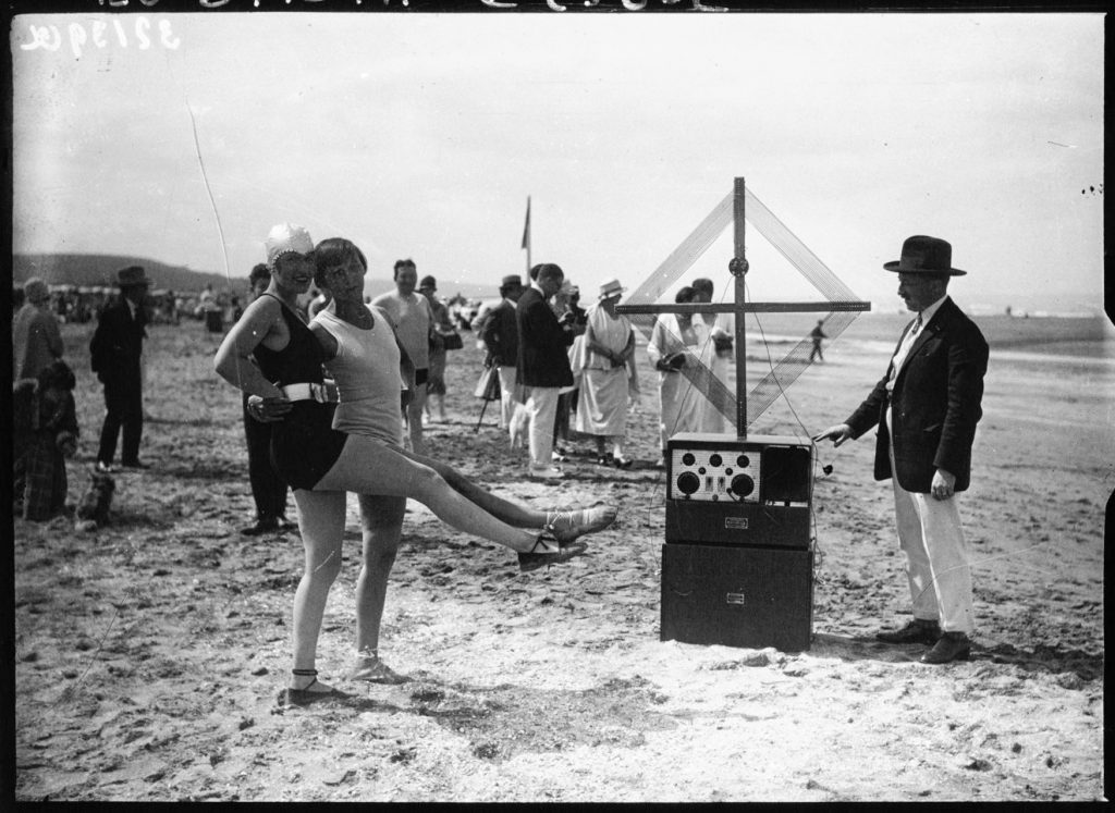 The Dolly Sisters on Deauville beach in 1926