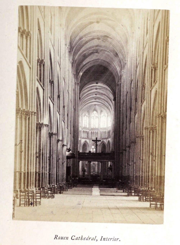 Interior Rouen cathedral, 1865 silver albumen photograph, Normandy