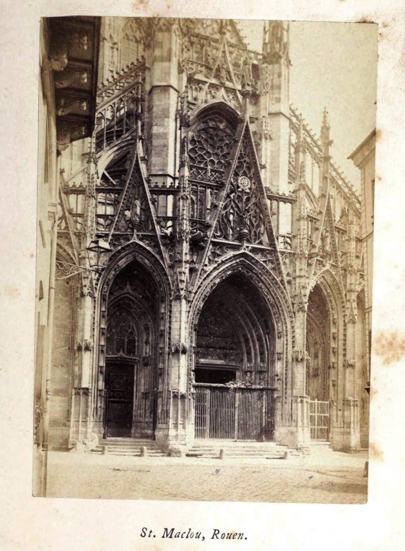 St Maclou Rouen, 1865 silver albumen photograph, Normandy