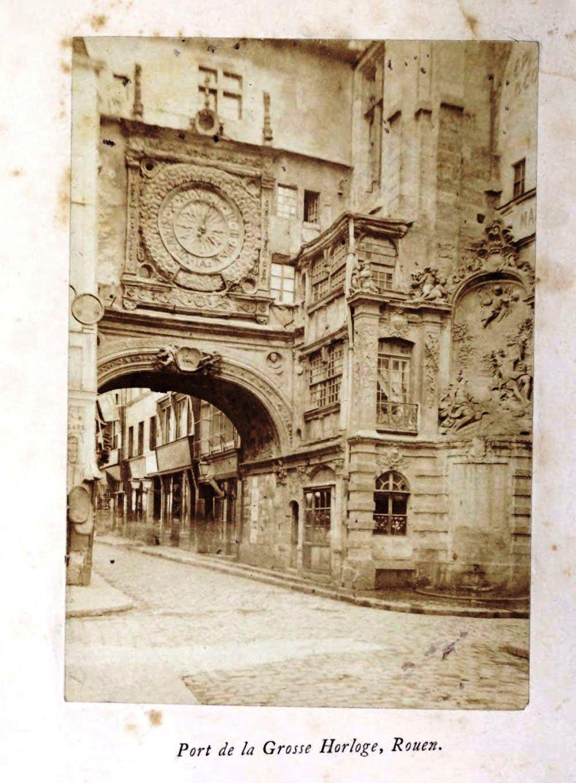 Port de la Grosse Horloge Rouen, 1865 silver albumen photograph, Normandy