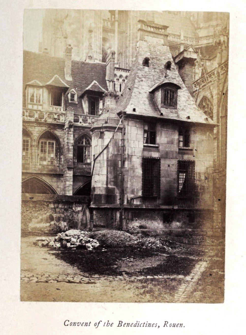 Convent of the Benedictine, Rouen, 1865 silver albumen photograph, Normandy