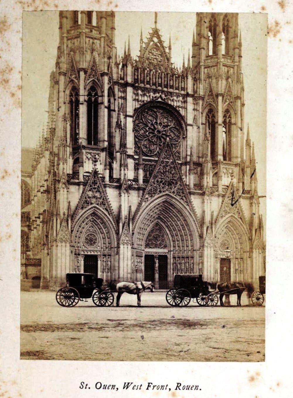 St Ouen west front Rouen, 1865 silver albumen photograph, Normandy