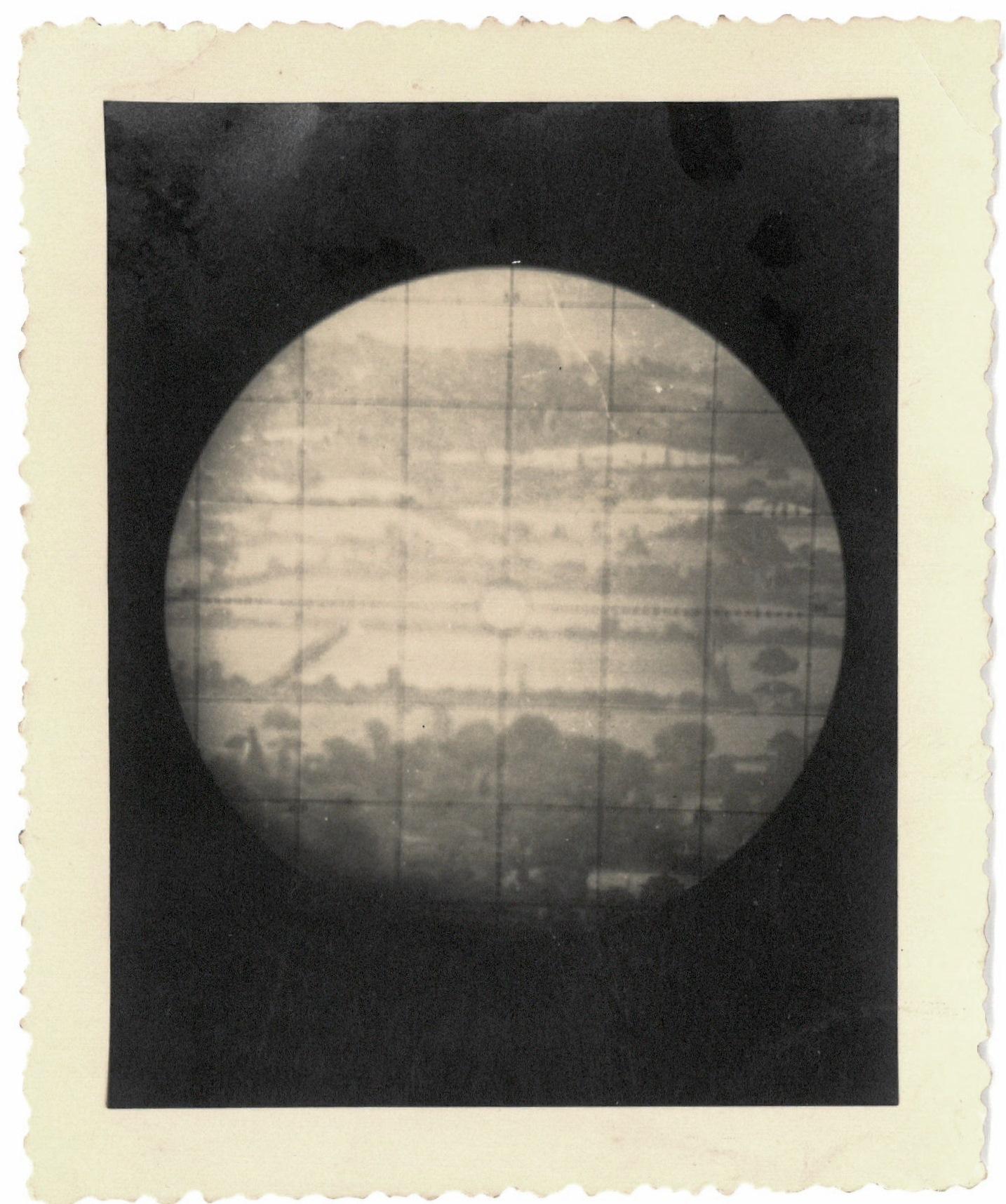''Shot through az. instrument on flash O.P. near St Lo' 1944