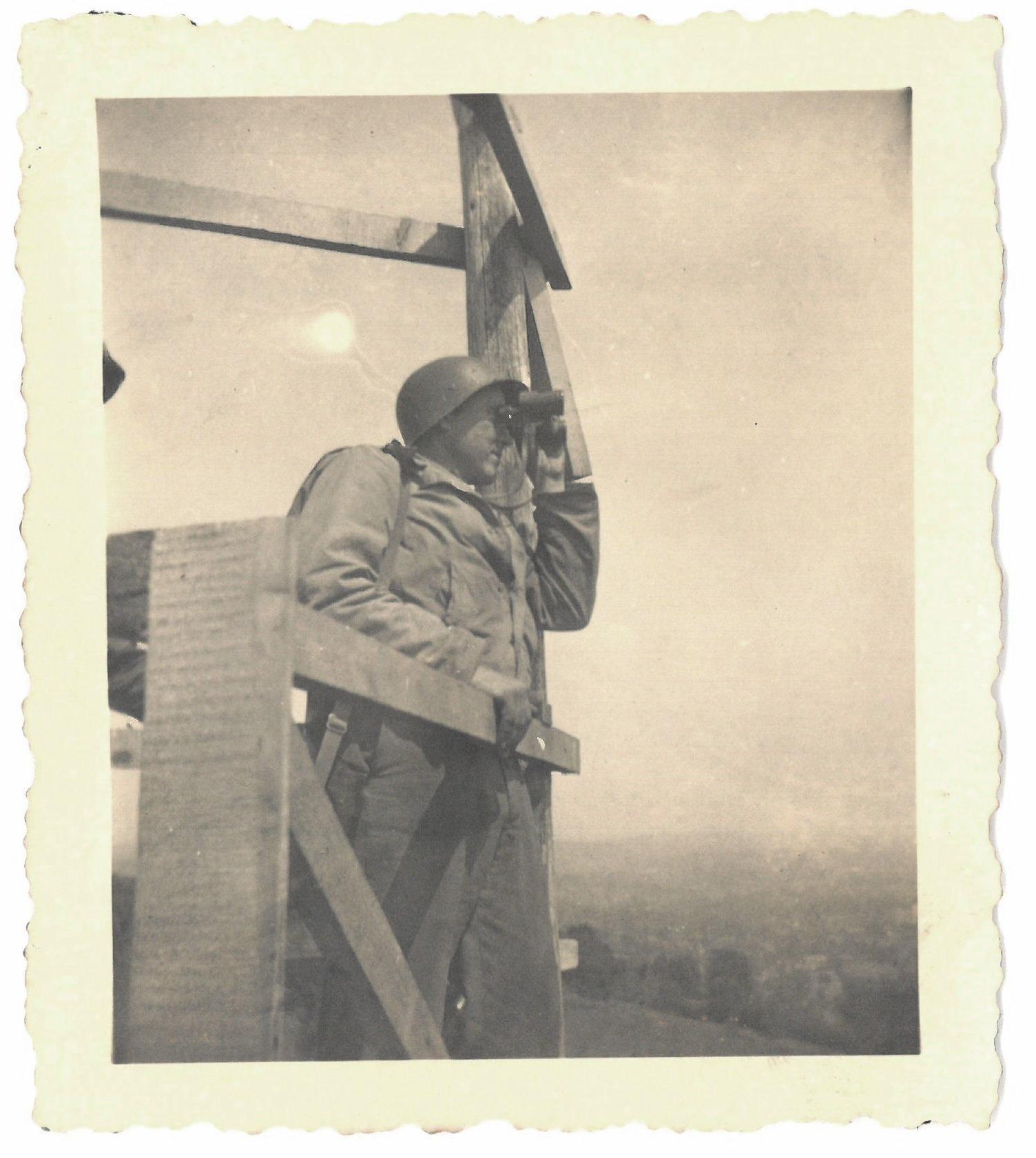 'Triangulation station near Flash O.P. St Sev. Cal.' Normandy 1944