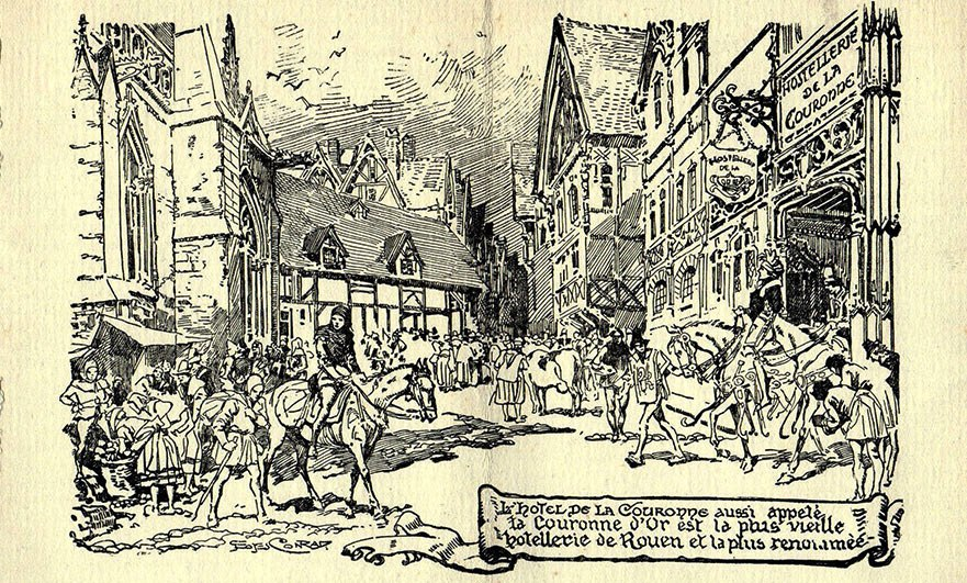 Sketch of La Couronne restaurant in medieval times, from a 1928 menu card.