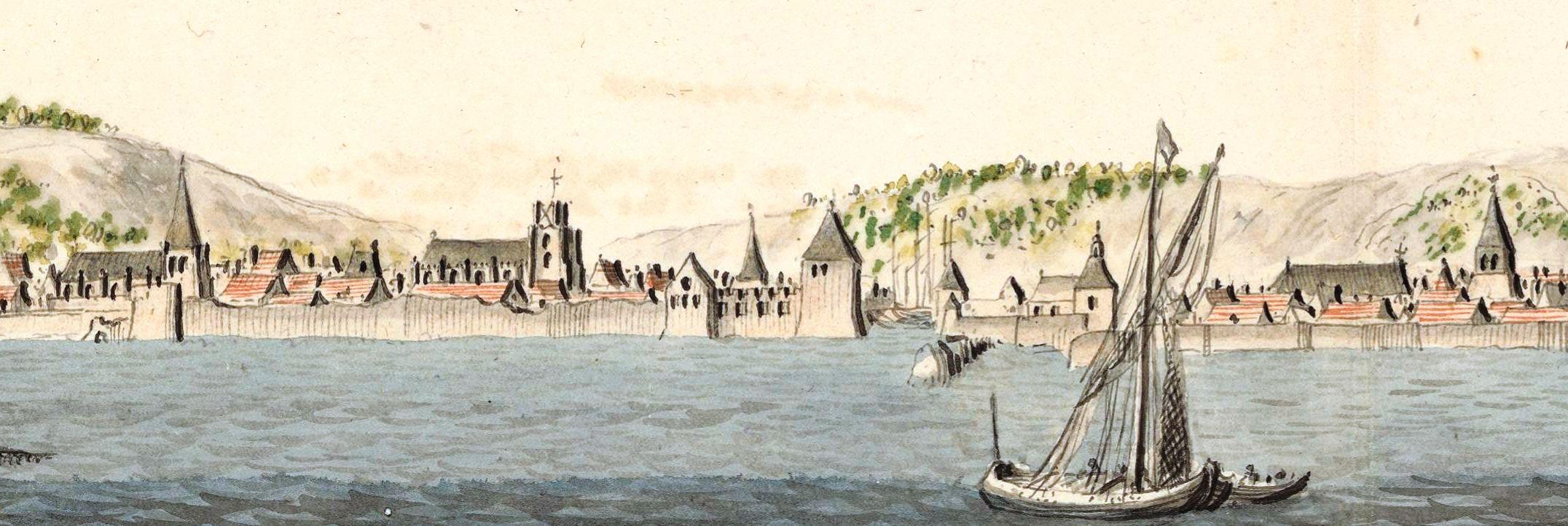 Vintage sketch of Honfleur