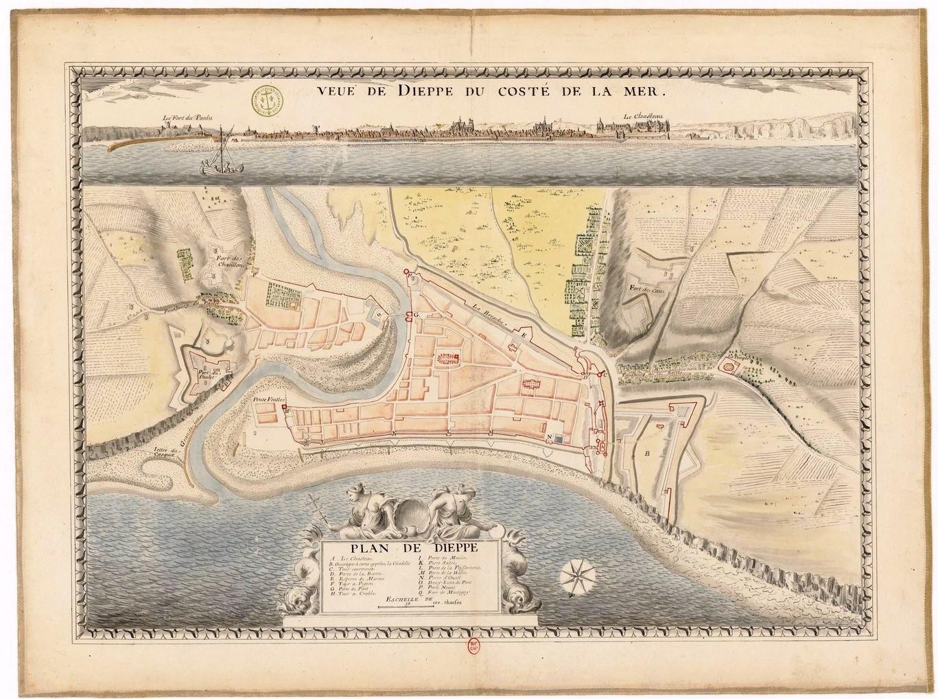 Vintage map of Dieppe