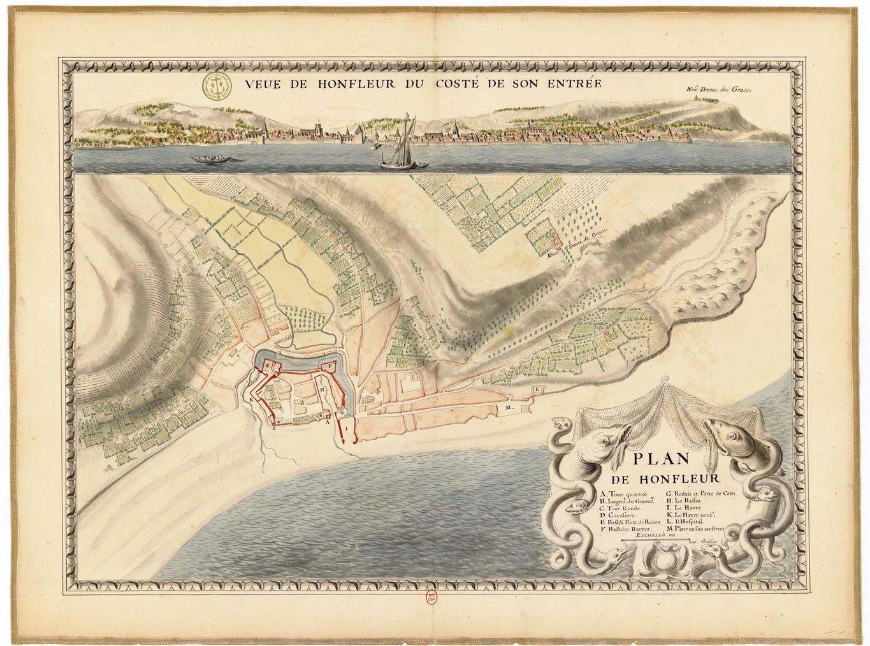 Vintage map of Honfleur