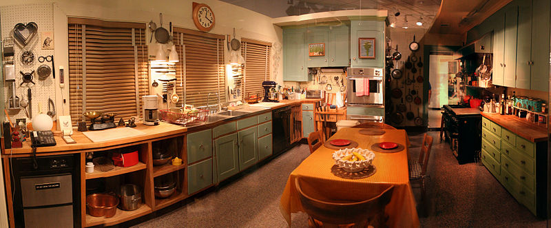 Julia Childs kitchen in the Smithsonian. Built at a height specially for Julia, by Paul.