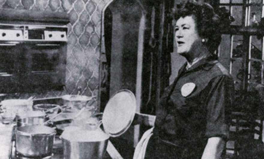 Julia Child cooking on her tv programme, the French Chef