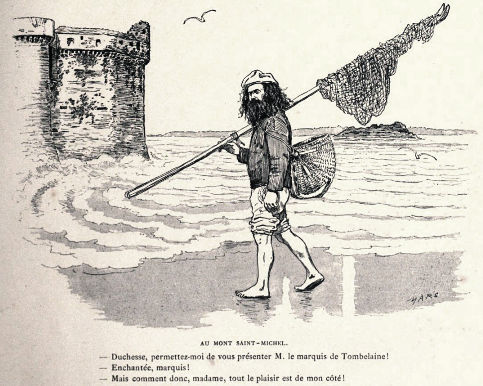 Drawing of the Marquis de Tombelaine in Plages de Bretagne & Jersey by Bonvoisin, Maurice