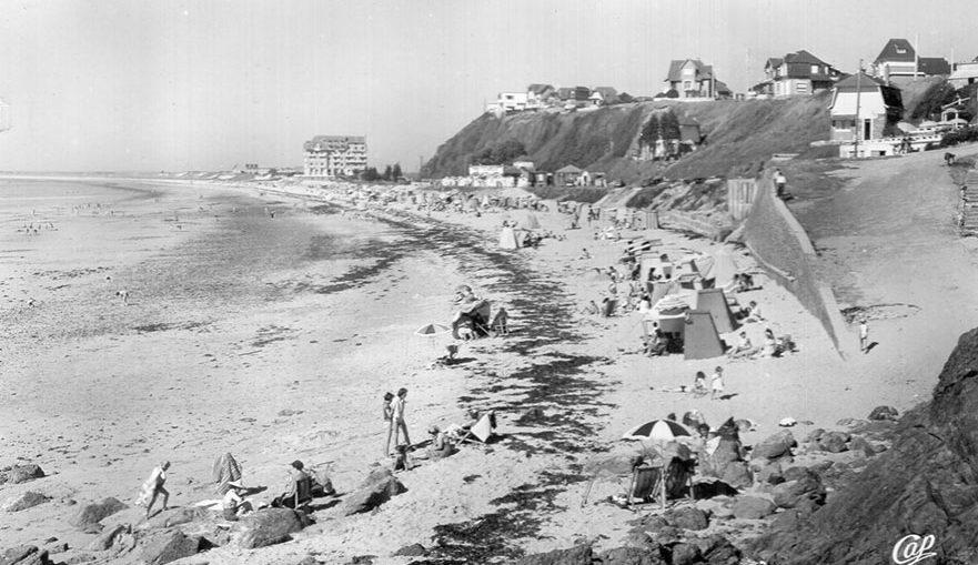 donville les baines beach vintage postcard