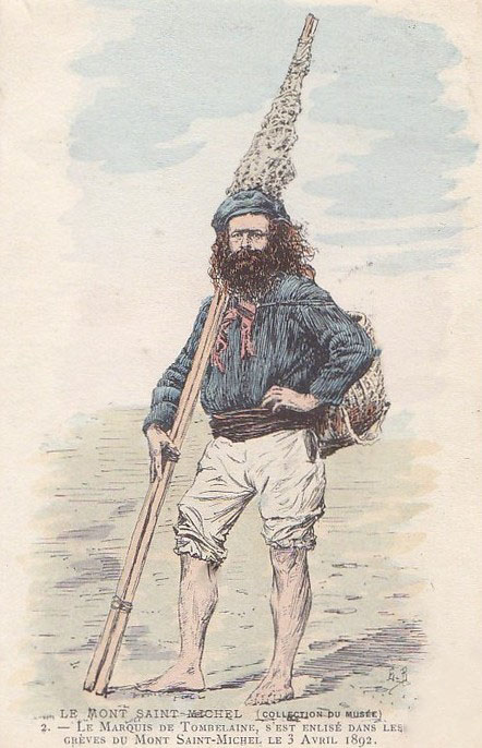 Coloured etching of the Marquis de Tombelaine, Jean le Déluge carrying Bichettes. Bichettes are dip nets on two long poles, used in the Bay of Mont-Saint-Michel.