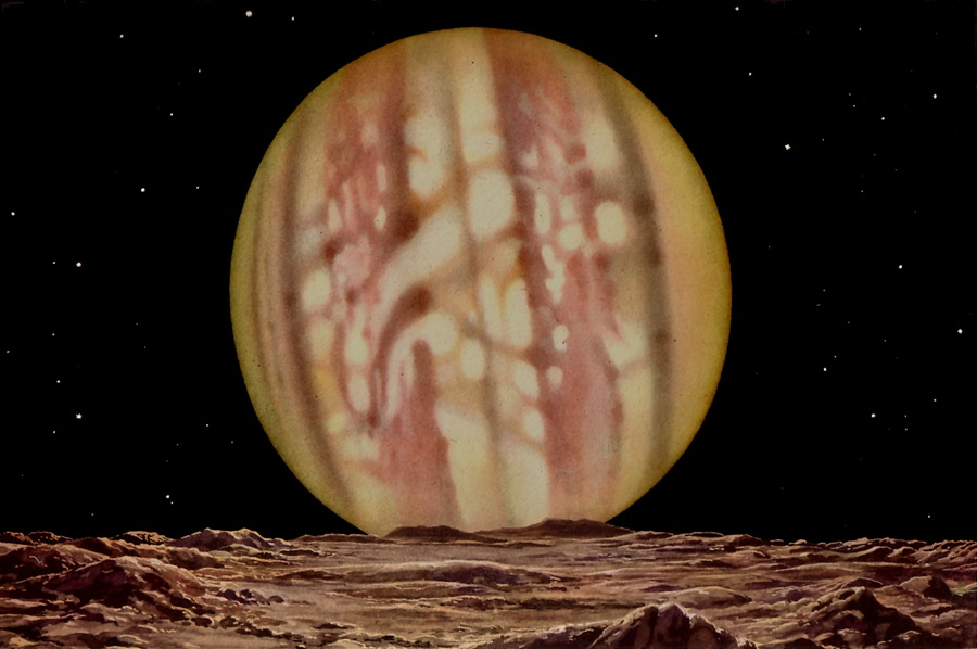 Painting of Jupiter from his satellite Io by Lucien Rudaux, published 1937