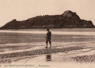 Vintage postcard of the island of Tombelaine in the Bay of Mont Saint-Michel