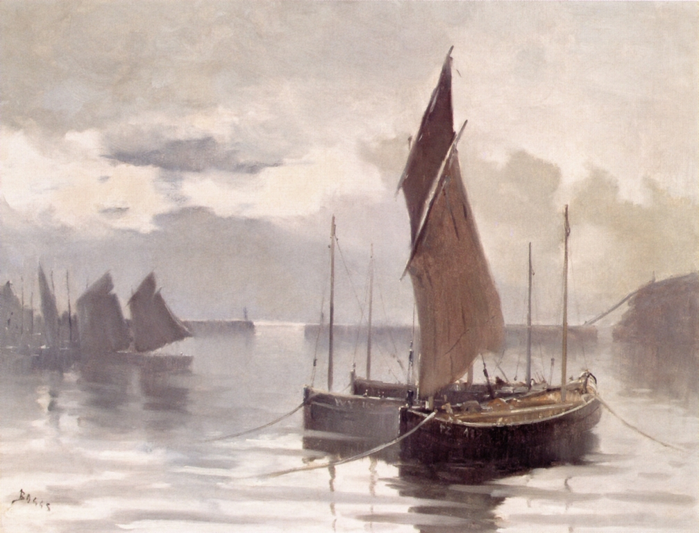 French harbour scene by Frank Myers Boggs