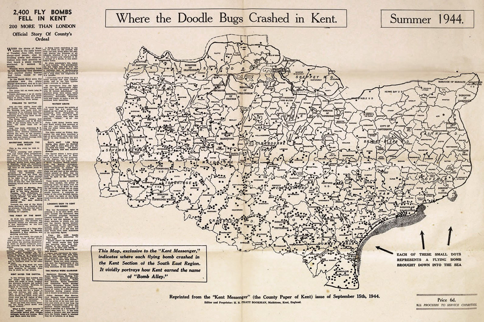 Map showing where the doodlebug fell in kent published in the Kent Messenger newspaper