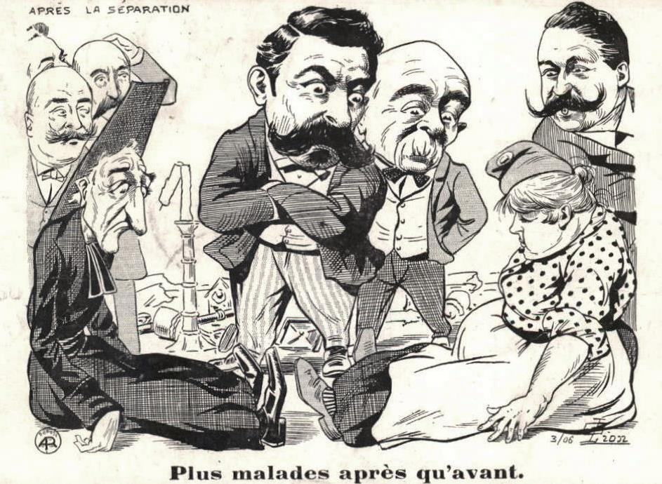 'More sick than before' the Church and people of France seen to suffer after the Law of Separation 1905 - postcard