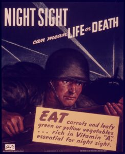 WW2 propaganda poster promoting carrots to help see at night.