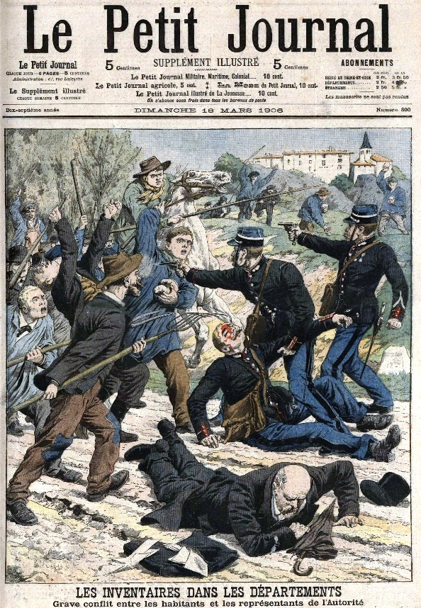 Popular magazine Le Petit Journal illustrates the local battles following the Law of Separation of 1905 and Inventories of Catholic Church property in 1906