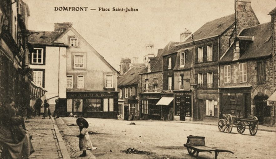 vintage postcard Place Saint Julien Domfront Normandy