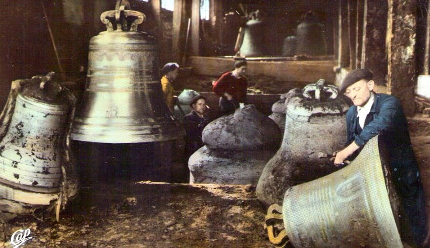 Vintage postcad of the Corneille Havard bell foundry in Villedieu les Poeles Normandy
