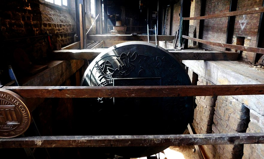 Large cast gong in the Corneille Havard bell foundry in Villedieu les Poeles Normandy