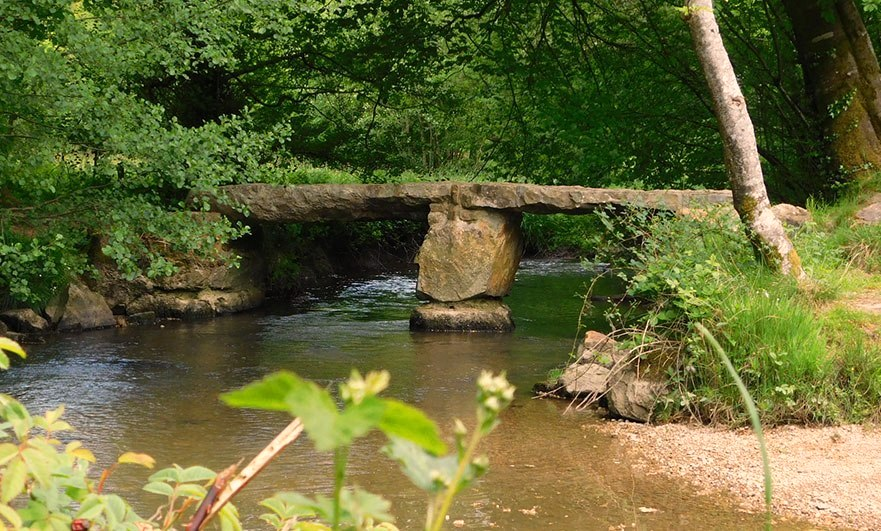 Match! Megalith bridge over the river Varenne in the Orne Normandy