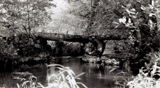 Postcard of the megalith bridge over the river Varenne in the Orne Normandy