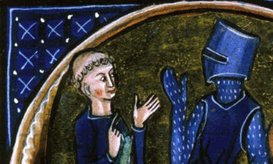 Detail of historiated initial 'C'(lergie) of a cleric, a knight and a peasant wiki free