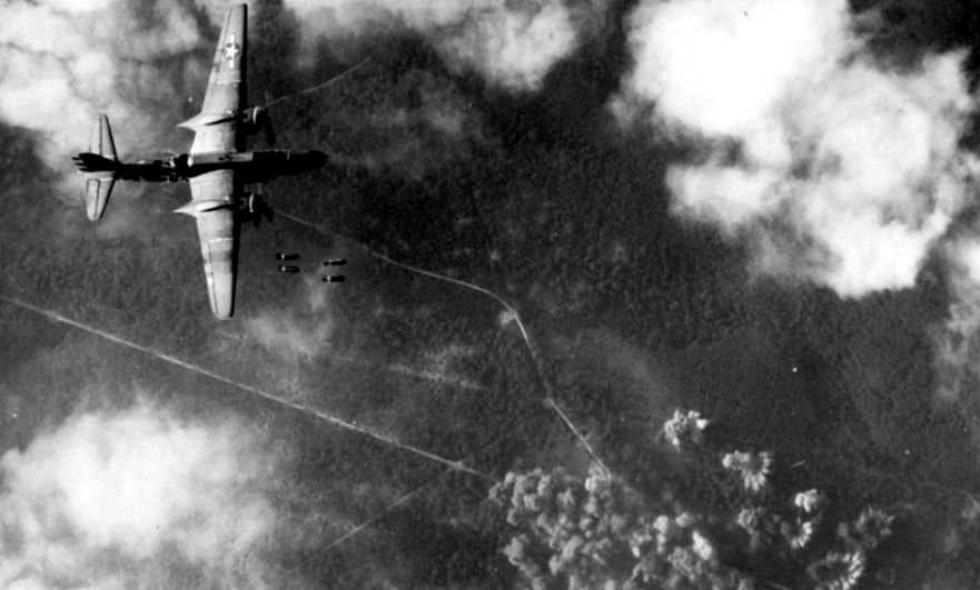 WW2 photo match – bombing the Andaines forest in 1944
