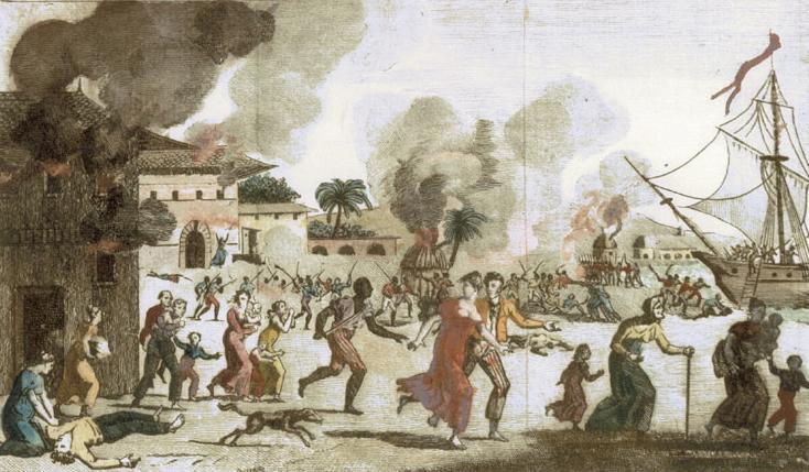 Illustration showing the massacre of whites and the burning of Cap-Français on Saint-Domingue in 1792, printed in Paris 1815
