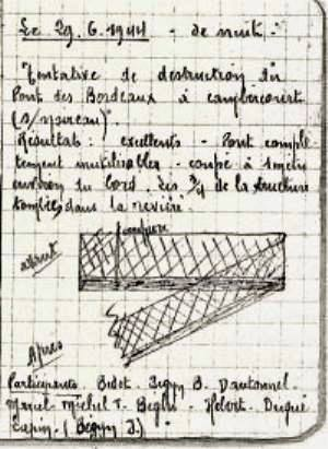 'Lapin' made about the mission to destroy Les Bordeaux bridge, his daughter carefully preserved the notebook