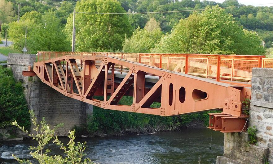 The Whale bridge at Les Bordeaux across the Noireau river in Normandy