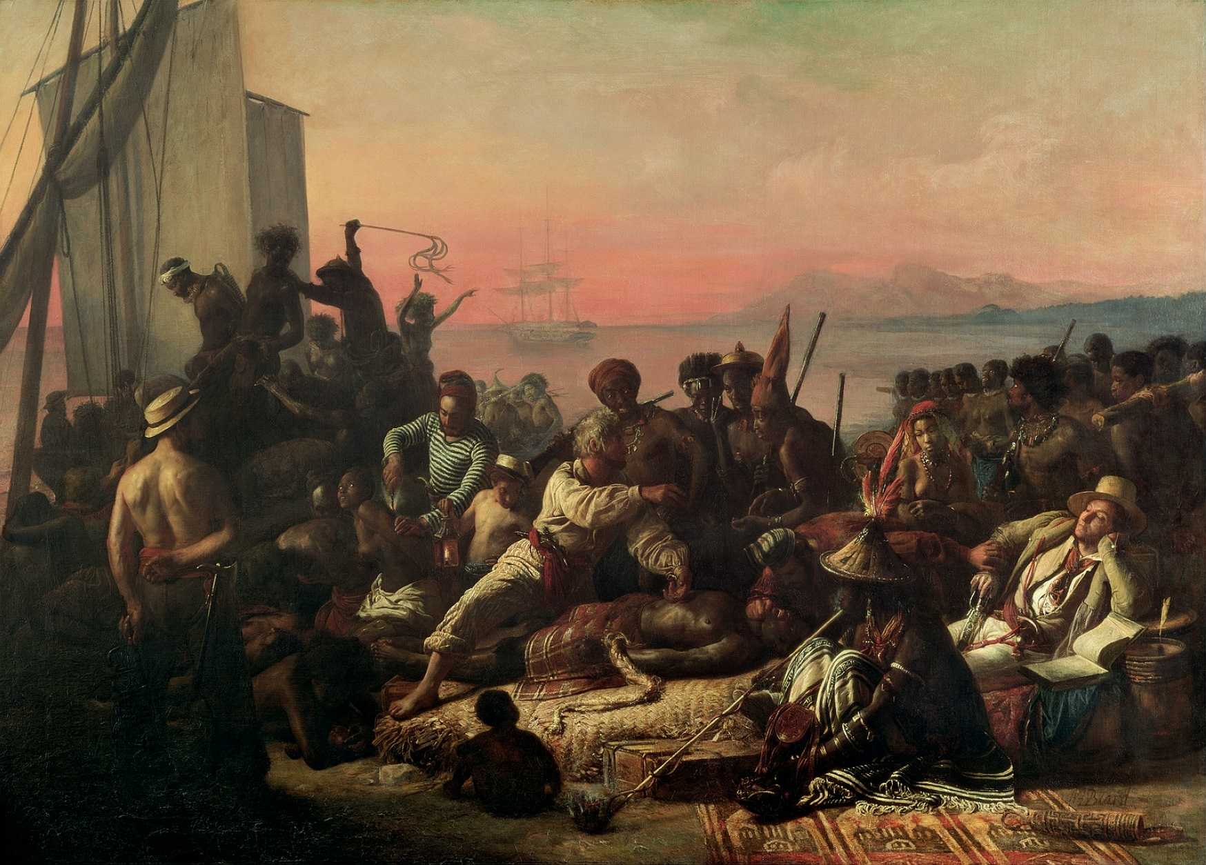 Slaves on the West Coast of Africa, c.1833 (oil on canvas) by Francois Auguste Biard