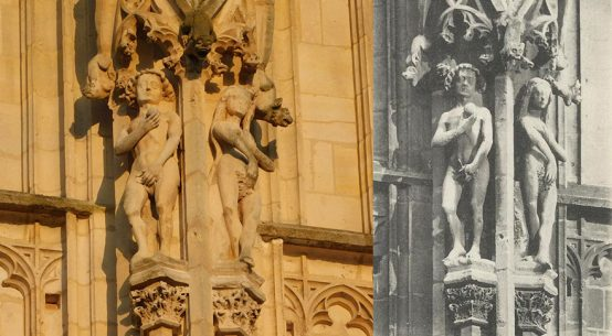 Match! Adam and Eve on the Tour de Beurre, Rouen cathedral