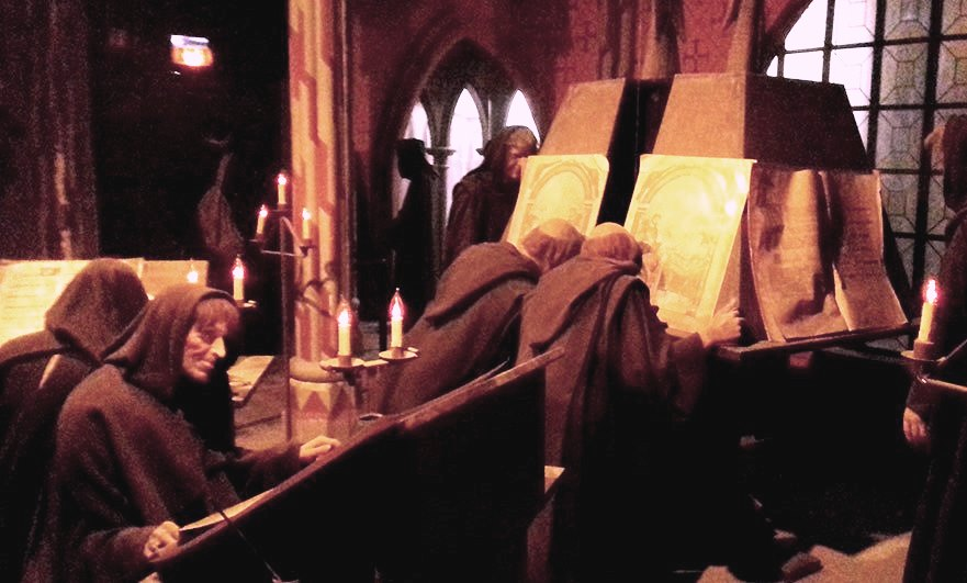 The (wax) monks of Mont Saint-Michel (phone pics in the dark..)