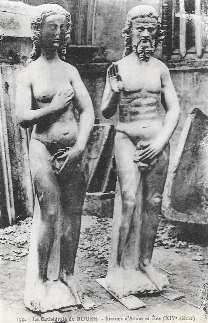 Earlier incarnations of the tower's Adam and Eve