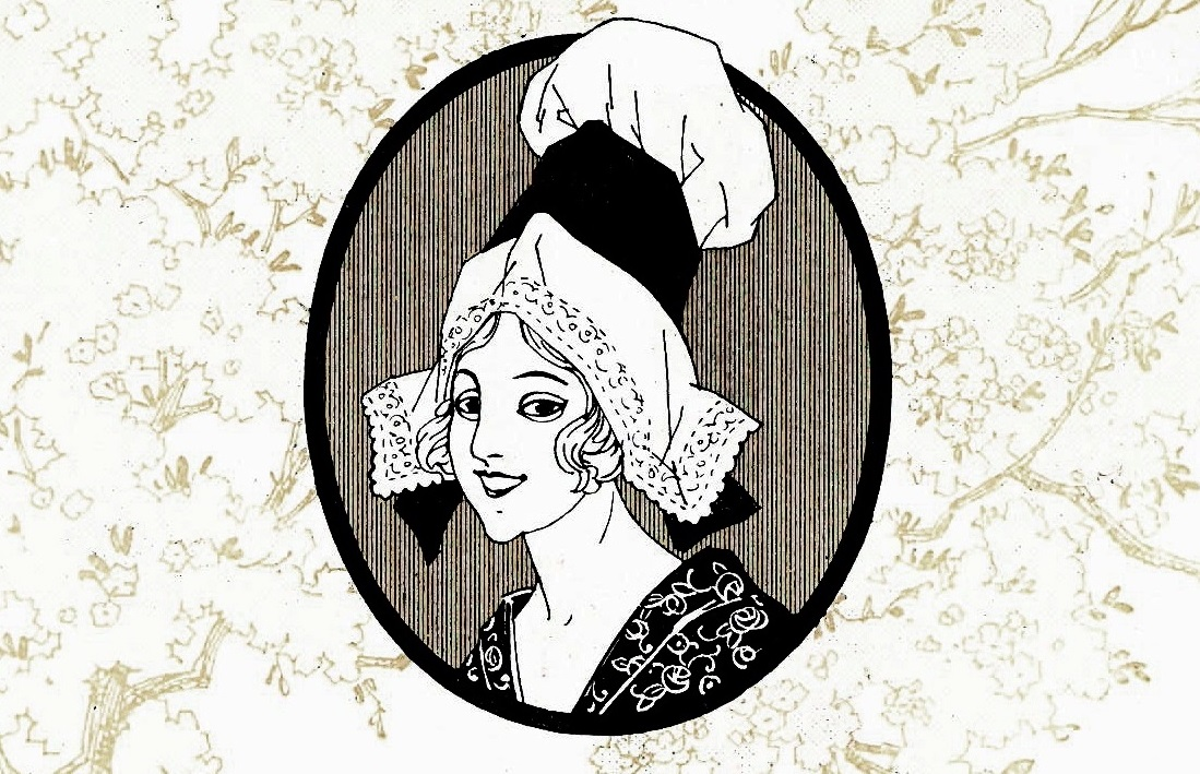 The leaflet includes this charming illustration of a Normandy maid