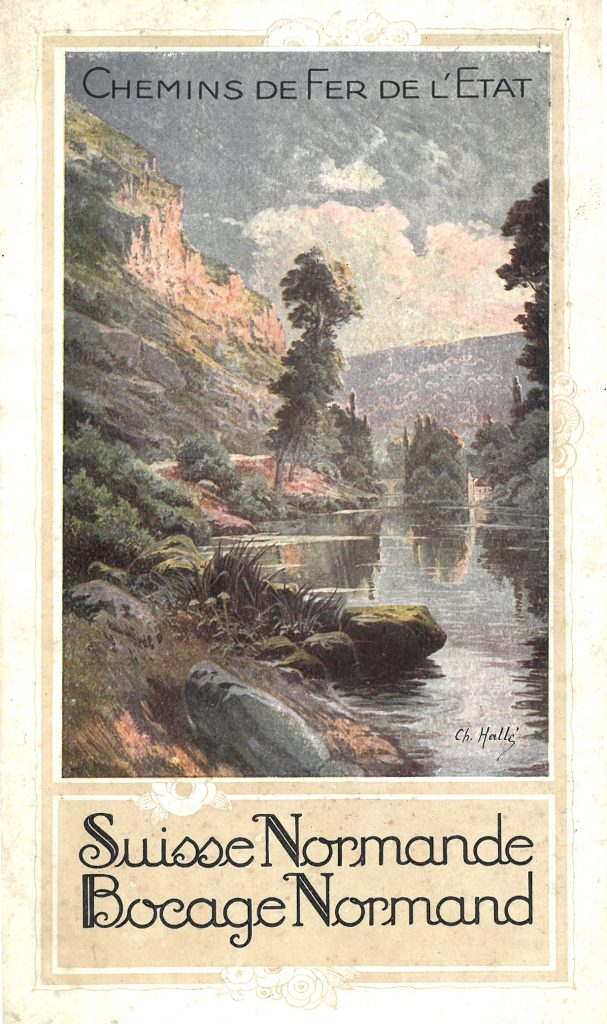 19th century leaflet promoting the Chemin de Fer, railway, to tour Normandy