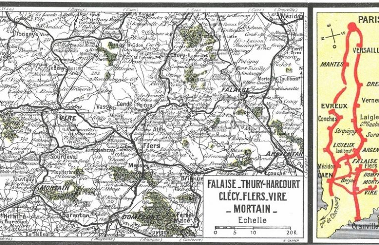 The leaflet includes a Chemin de Fer, railway, map of Normandy