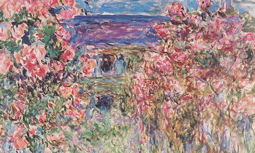 The house amongst the roses, by Monet